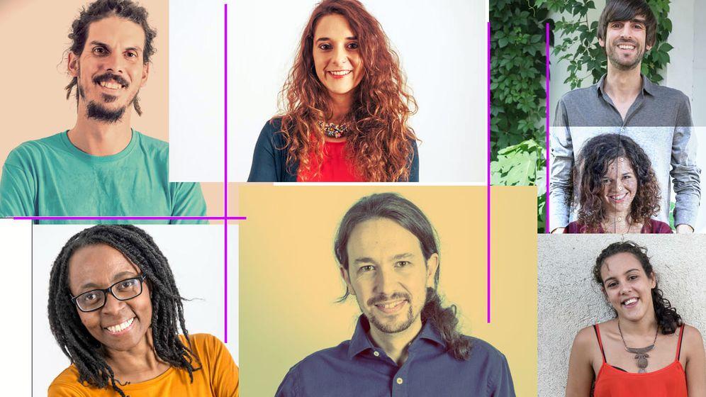 Foto: Alberto Rodríguez (arriba izquierda), Noelia Vera (arriba centro), Rita Bosaho (abajo izquierda), Sofía Castañón (derecha centro), Eduardo Maura (arriba izquierda), Pablo Iglesias y Nagua Alba (abajo derecha). (EC)