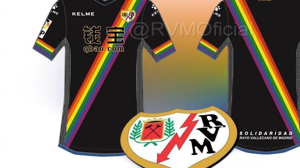 El Rayo sustituye su franja roja por la bandera arcoíris en la camiseta