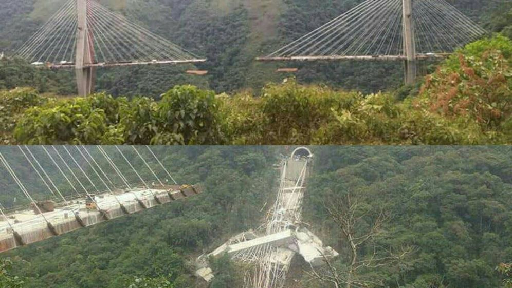 Foto: Derrumbe del puente entre Bogotá y Villavicancio. (Reuters)