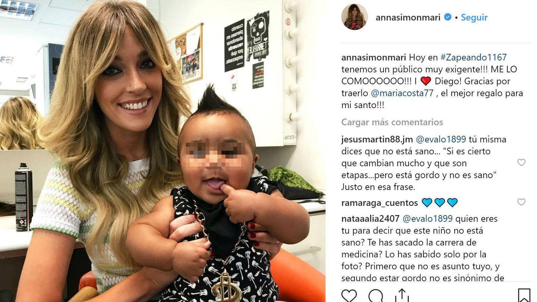 Anna Simon junto al pequeño Diego.(Instagram)
