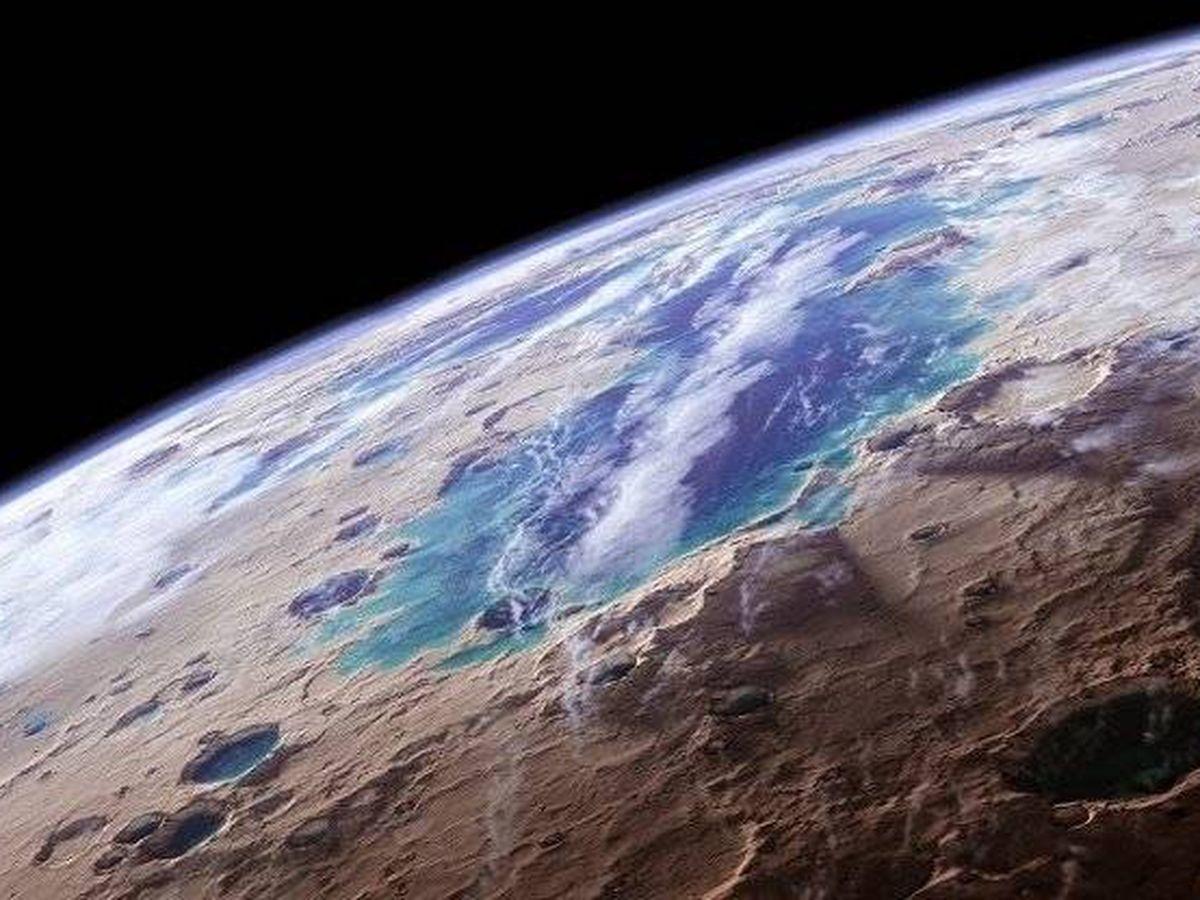 Foto: Recreación artística del agua en Marte. Foto: NASA/Kevin Gill