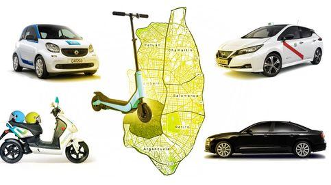 Dime a qué zona de Madrid vas y te diré si te sale mejor una moto, un coche o un patinete