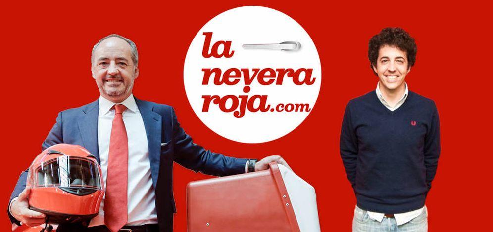 Foto: El presidente de Telepizza, Pablo Juantegui (izquierda), junto al cofundador de La Nevera Roja, su hijo Íñigo Juantegui. (EC)