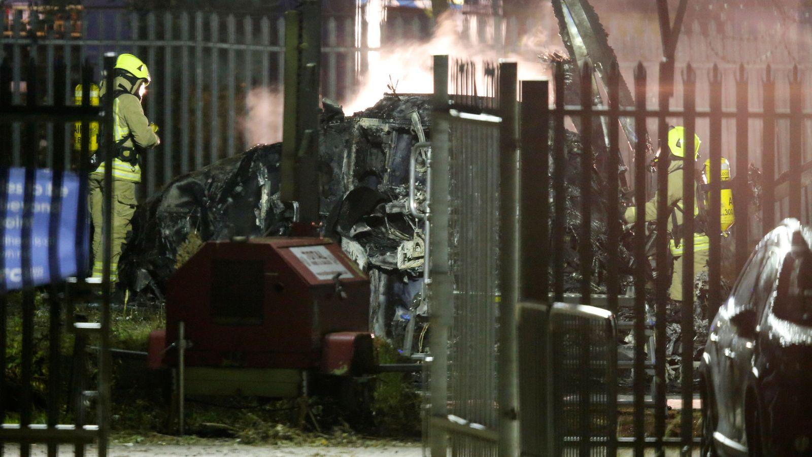 Foto: Así quedó el helicóptero tras el accidente. (Reuters)