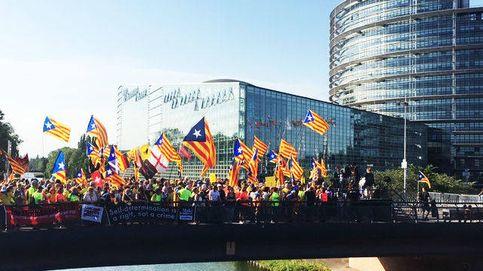 Manifestación independentista catalana el día de la constitución del Europarlamento