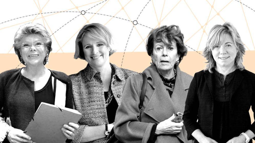 Foto: Viviane Reding, Vicky Ford, Neelie Kroes y Pilar del Castillo (Montaje: Carmen Castellón)