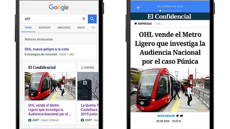 El Confidencial debuta en Google AMP: leer nuestras noticias en el móvil, más rápido