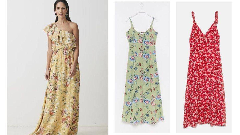 Tres vestidos largos con flores para tus bodas de verano.
