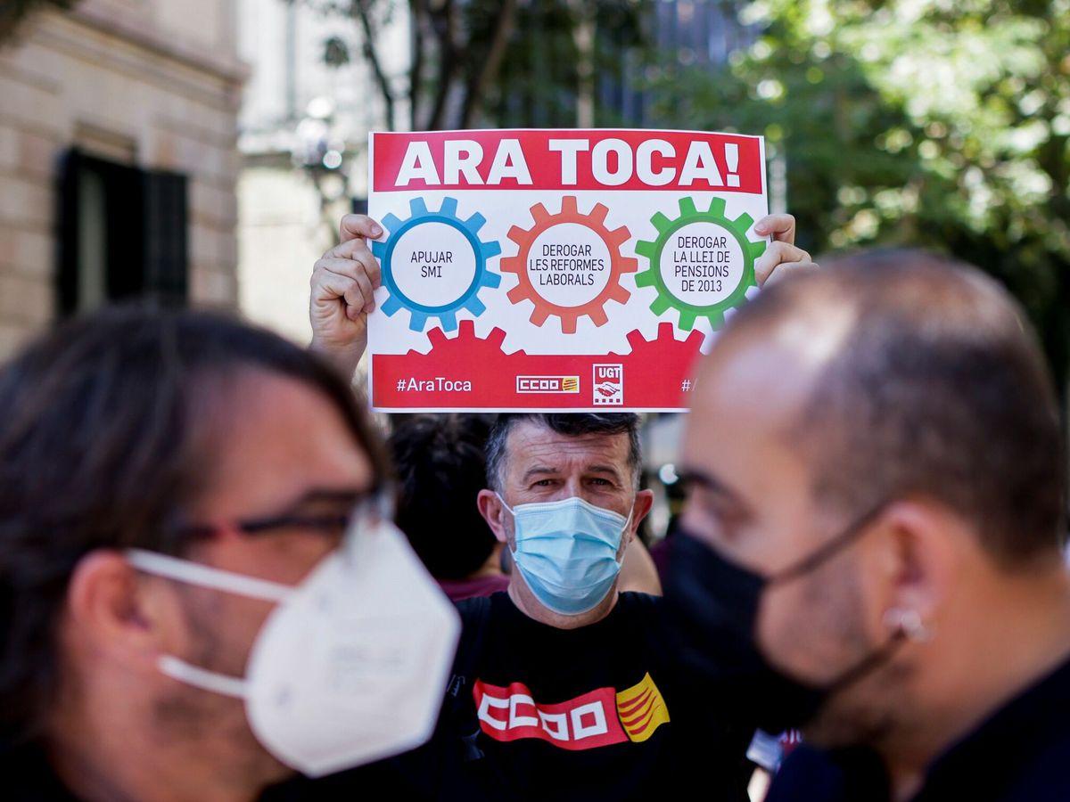 Foto: Protesta de los sindicados en Barcelona para urgir mejoras laborales. (EFE)