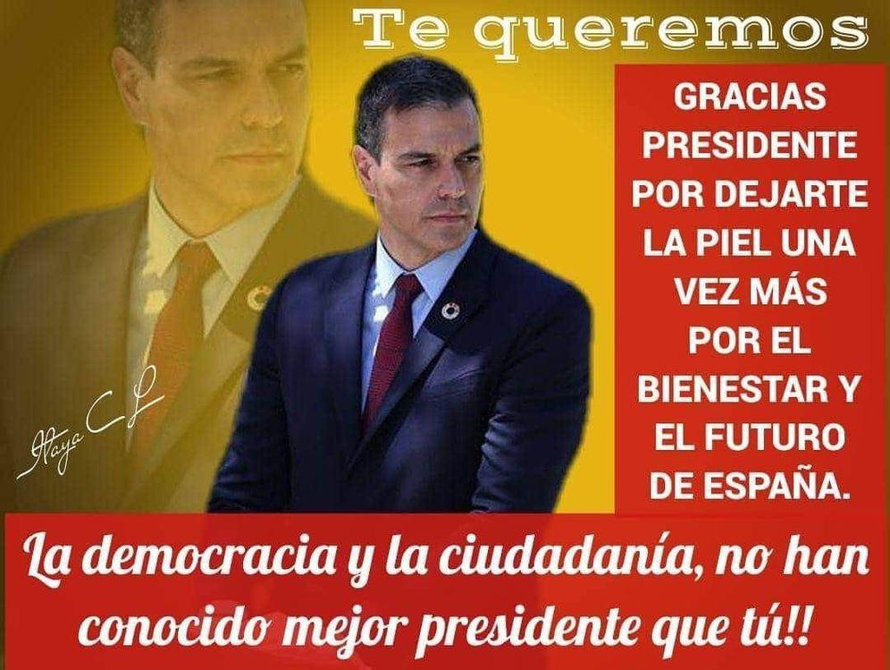 Foto: Una de las cartelas en chats del PSOE.
