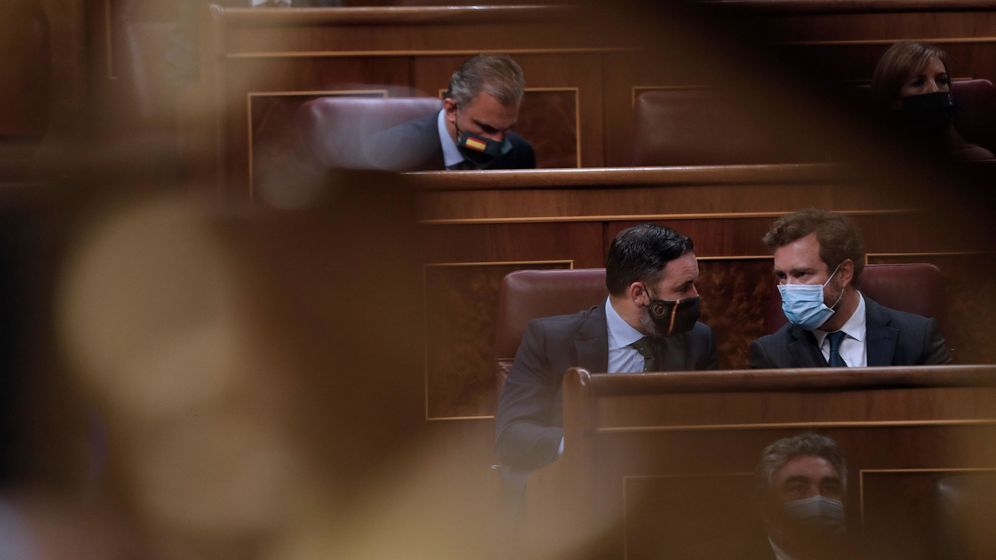 Foto: Bancada de Vox en el Congreso de los Diputados, ayer. (EFE)
