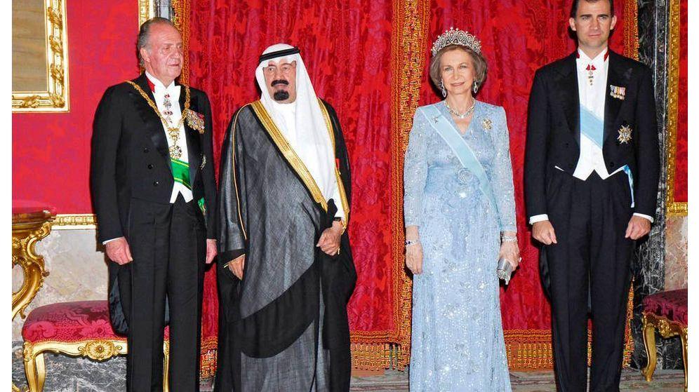 Foto: El rey Juan Carlos, la reina Sofía y Felipe VI, en una recepción oficial al rey Abdulá en 2007. (EFE)