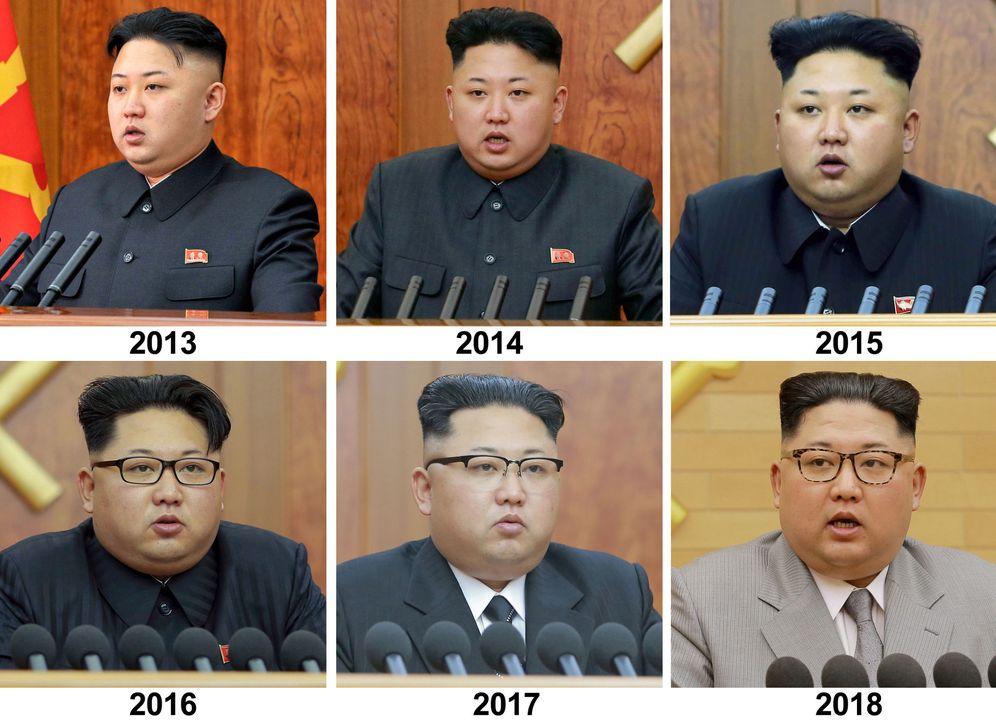 Foto: Kim Jong-Un en los discursos de Año Nuevo de 2013 a 2016. (Reuters)