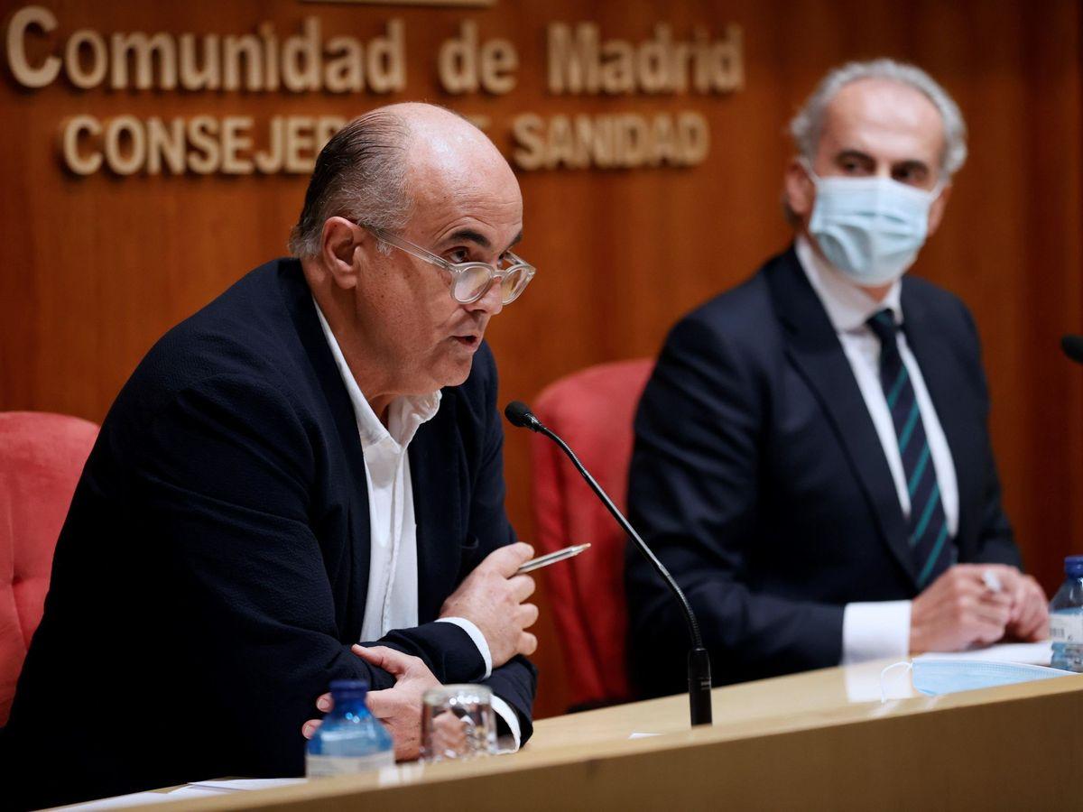 Foto: El consejero de sanidad madrileño actualiza situación epidemiológica en la región.