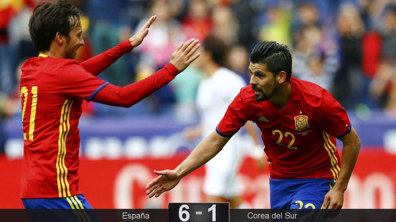 Foto: Nolito, dos goles, Silva otro (Reuters).
