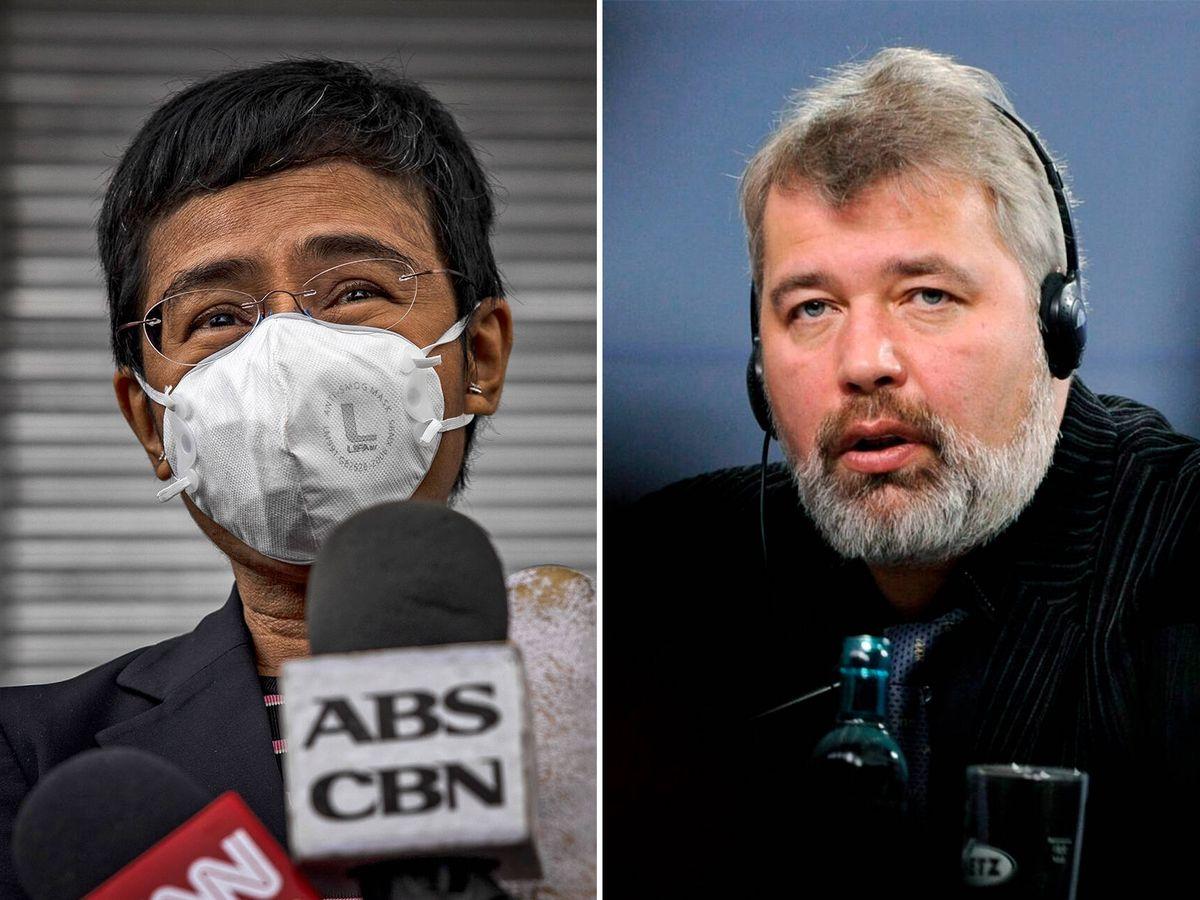 Foto: Maria Ressa y Dimitri Muratov, premios Nobel de la Paz 2021. (Getty/Reuters)