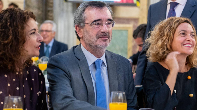 María Jesús Montero, ministra de Hacienda; Manuel Cruz, presidente del Senado; y Meritxell Batet, presidenta del Congreso.