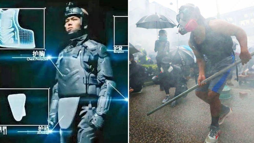 ¿Robocop? Así es la nueva coraza 'made in China' de los antidisturbios de Hong Kong