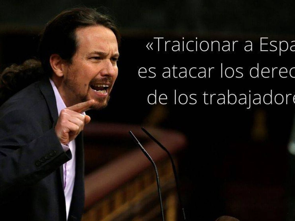 Foto: Frase de Pablo Iglesias durante la sesión de investidura. (EC)
