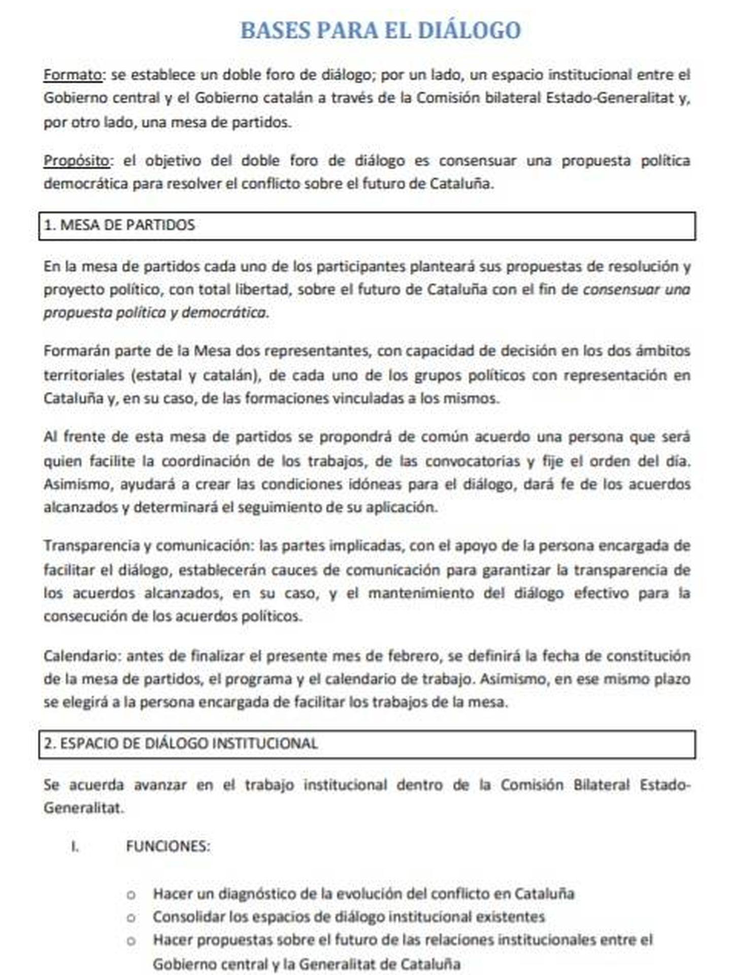 Consulte aquí en PDF la propuesta final del Gobierno de Pedro Sánchez sobre la mesa de partidos con Cataluña.