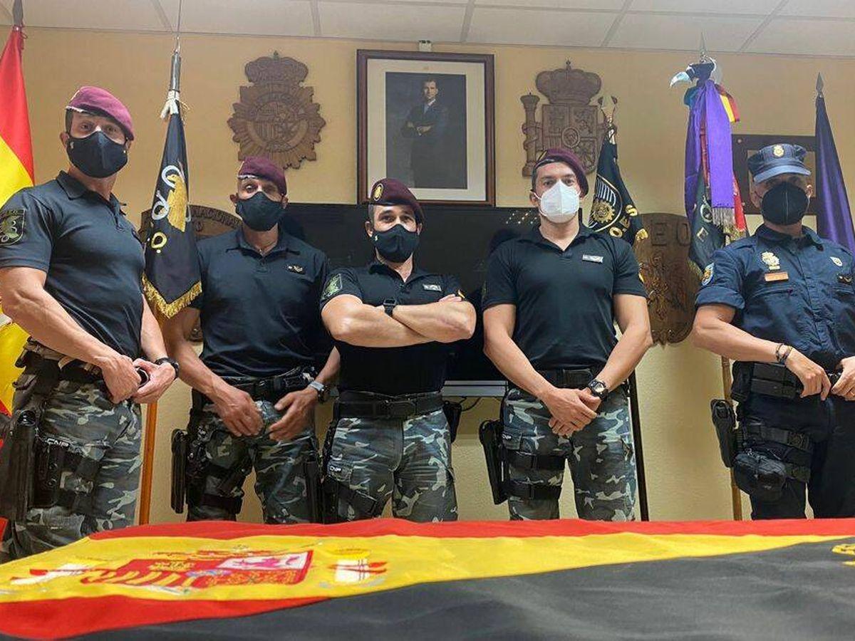 Foto: Parte del contingente policial español que evacuó a cientos de afganos. (A. R.)