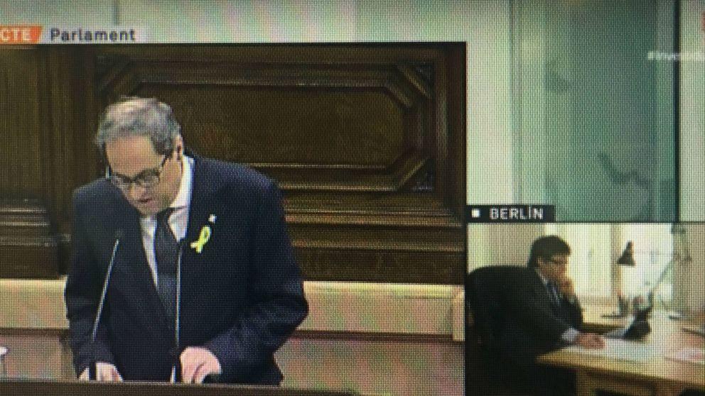 Carles Puigdemont, desde Berlín, agradece a Quim Torra la serenidad de su discurso