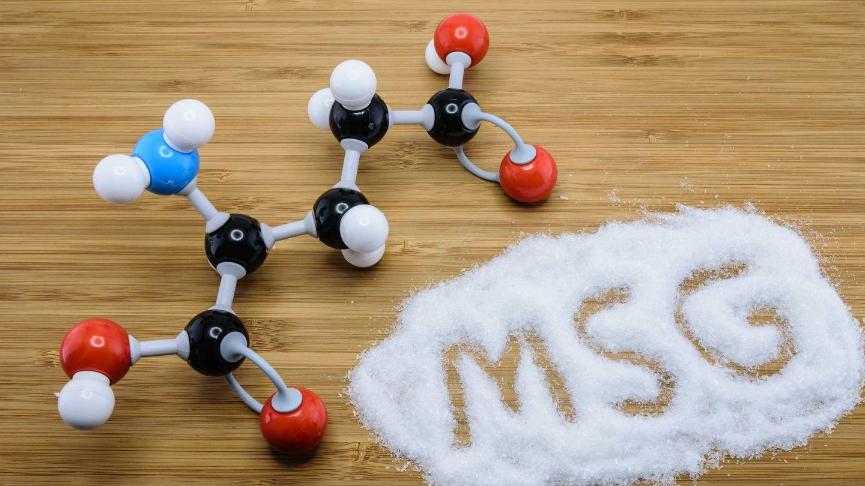 Estructura molecular del glutamato monosódico.