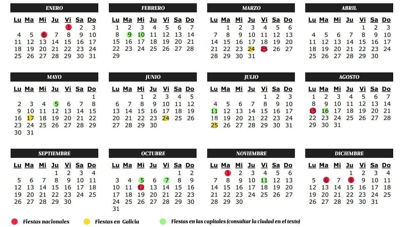Vacaciones calendario de fiestas y laborables 2016 en for Calendario eventos madrid