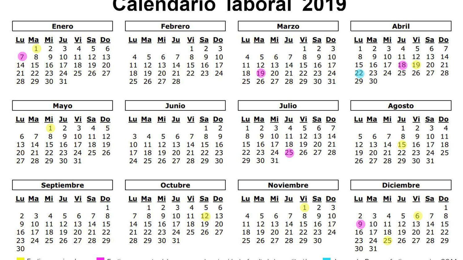 Calendario Laboral 2019 Andalucia.Calendario Laboral De 2019 Ocho Festivos Nacionales Y Solo Un Gran