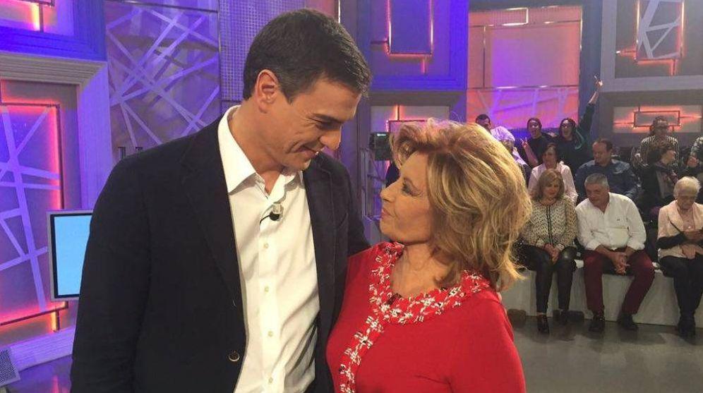 Foto: Pedro Sánchez y María Teresa Campos en una imagen de archivo. (Telecinco)