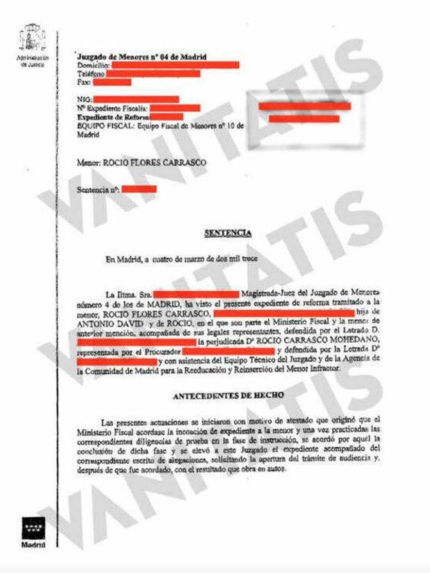 Sentencia de maltrato del 4 de marzo del Juzgado de Menores.
