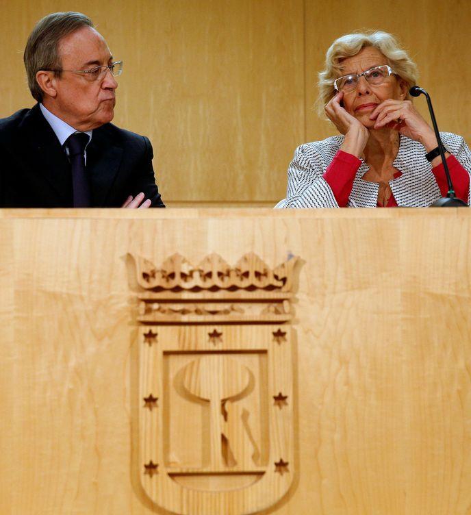 Foto: Florentino Pérez, presidente de ACS y del Real Madrid, junto a la alcaldesa Manuela Carmena.