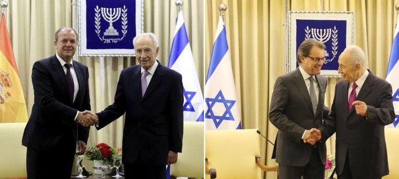 Foto: Shimon Peres, durante sus encuentros con el presidente de Extremadura, José Antonio Monago, y con Artur Mas