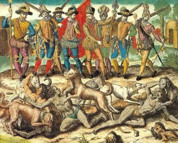 Foto: Aperreamiento de indígenas americanos por los conquistadores. Grabado de Theodor de Bry (s. XVI).