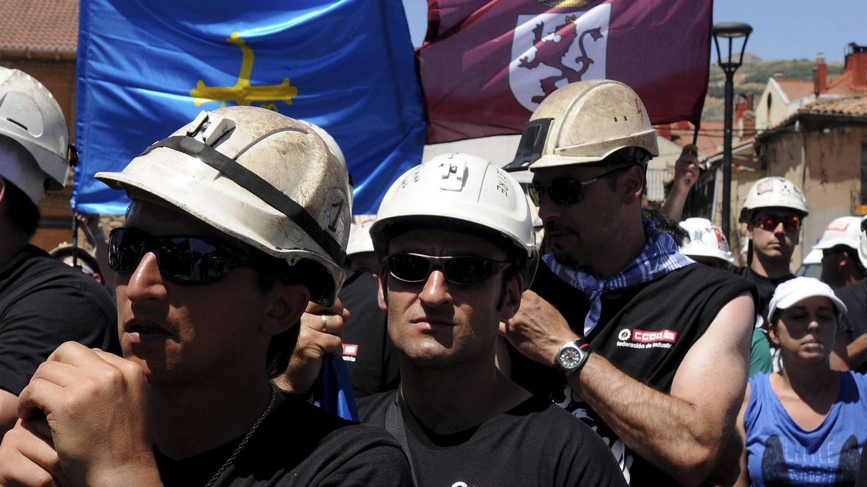 Llegada de la 'marcha del carbón' a La Robla (León) en julio de 2012. (EFE)