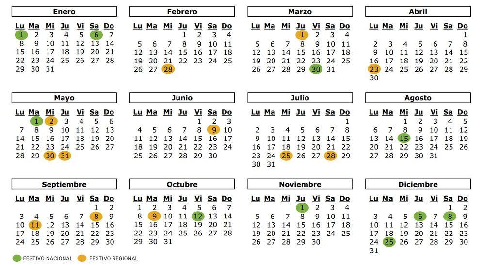 Foto: El calendario laboral de 2018.