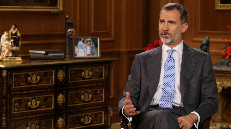 El Rey en el salón de audiencias del Palacio de Zarzuela. (EFE)