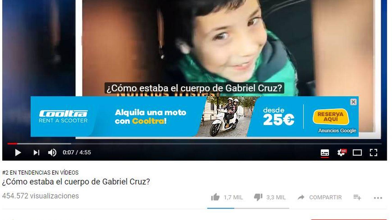 Captura del vídeo del niño con el anuncio