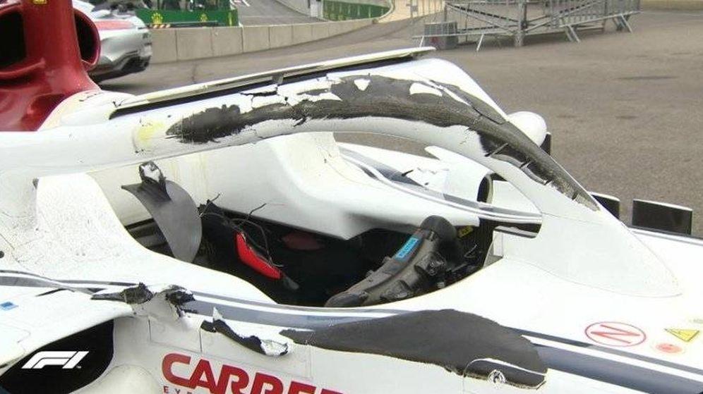 Foto: El estado del Halo del Sauber de Leclerc tras el accidente. (Twitter: @F1)