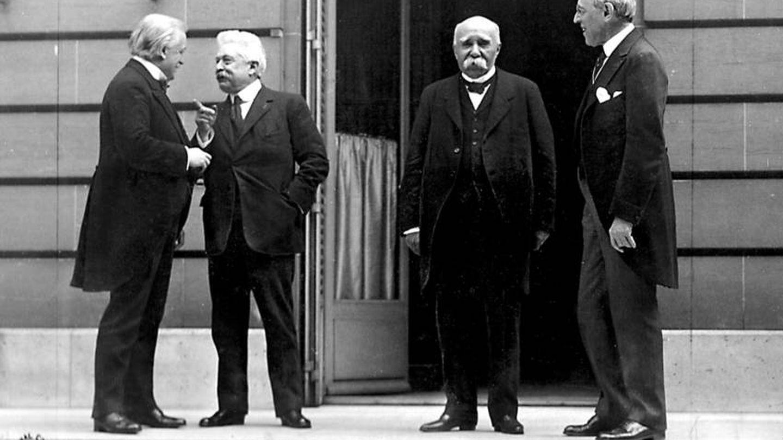 The Big Four (Lloyd George, Vittorio Orlando, Georges Clemenceau, Woodrow Wilson) en la Conferencia de Paz de París