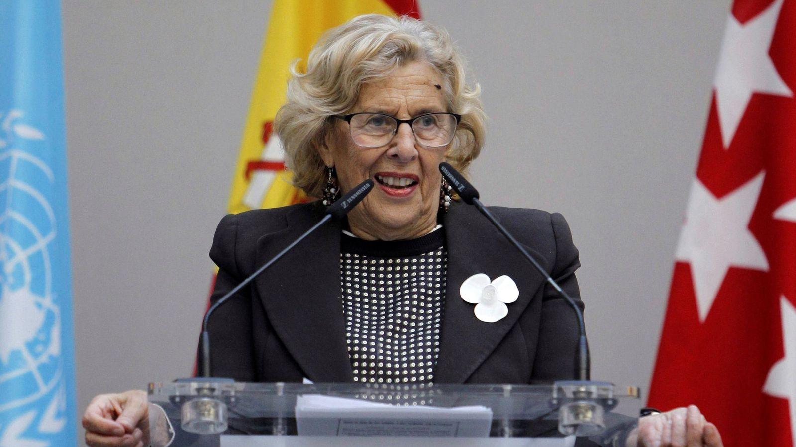 Foto: La alcaldesa de Madrid, Manuela Carmena, durante los actos conmemorativos del Día de Naciones Unidas. (EFE)