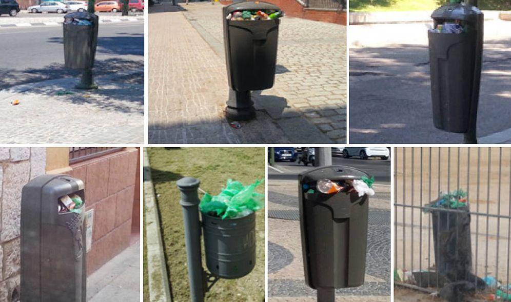 Foto: Algunas de las papeleras de Madrid 'floreando', según fotos tomadas por los trabajadores.