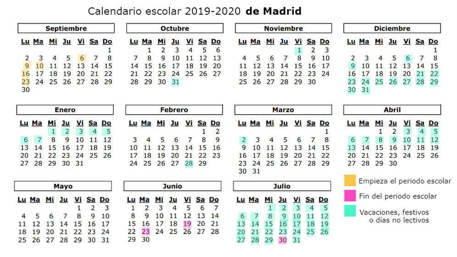 Calendario Escolar 2020 2020 Comunidad Valenciana.Calendario Escolar 2019 2020 Cuando Es La Vuelta Al Cole En Madrid