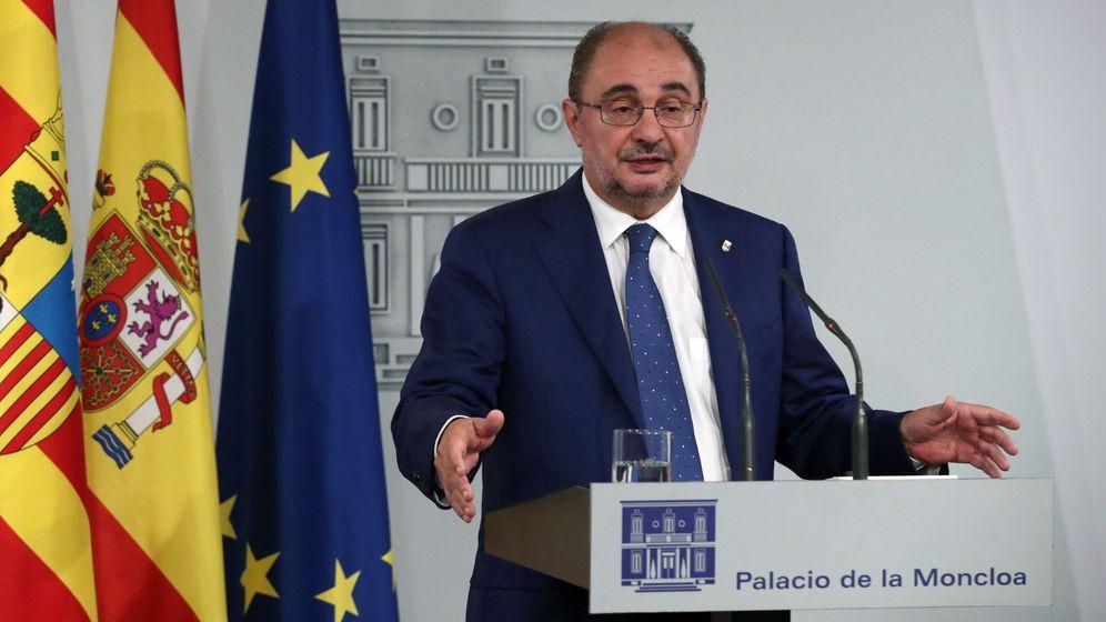 Foto: El presidente de Aragón, Javer Lambán, durante una rueda de prensa. (EFE)