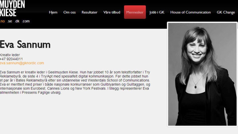 Eva Sannum en la web de la empresa que ahora abandona.