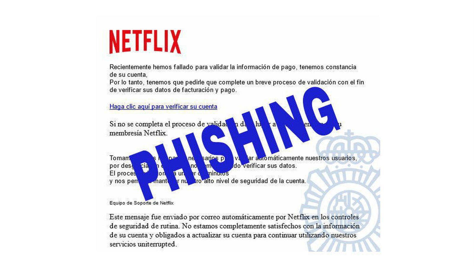 Foto: Ejemplo de 'phishing' destacado por la Policía Nacional con el logo de Netflix