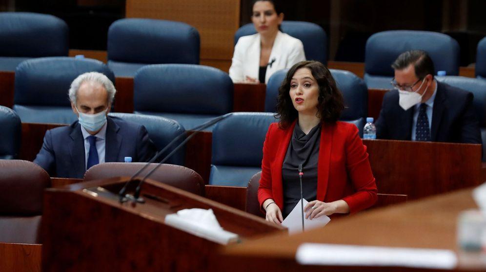 Foto: La presidenta autonómica, Isabel Díaz Ayuso, durante su intervención en la Asamblea. (EFE)