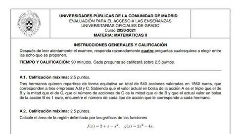 Así es el examen de selectividad que ha indignado a los alumnos madrileños