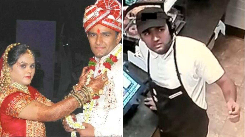Imágenes de la pareja antes del asesinato y de Patel en el local en el que trabajaba. (FBI)