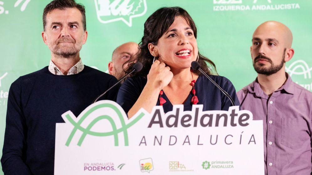 Foto: Teresa Rodríguez, tras conocer los datos del escrutinio. (EFE)